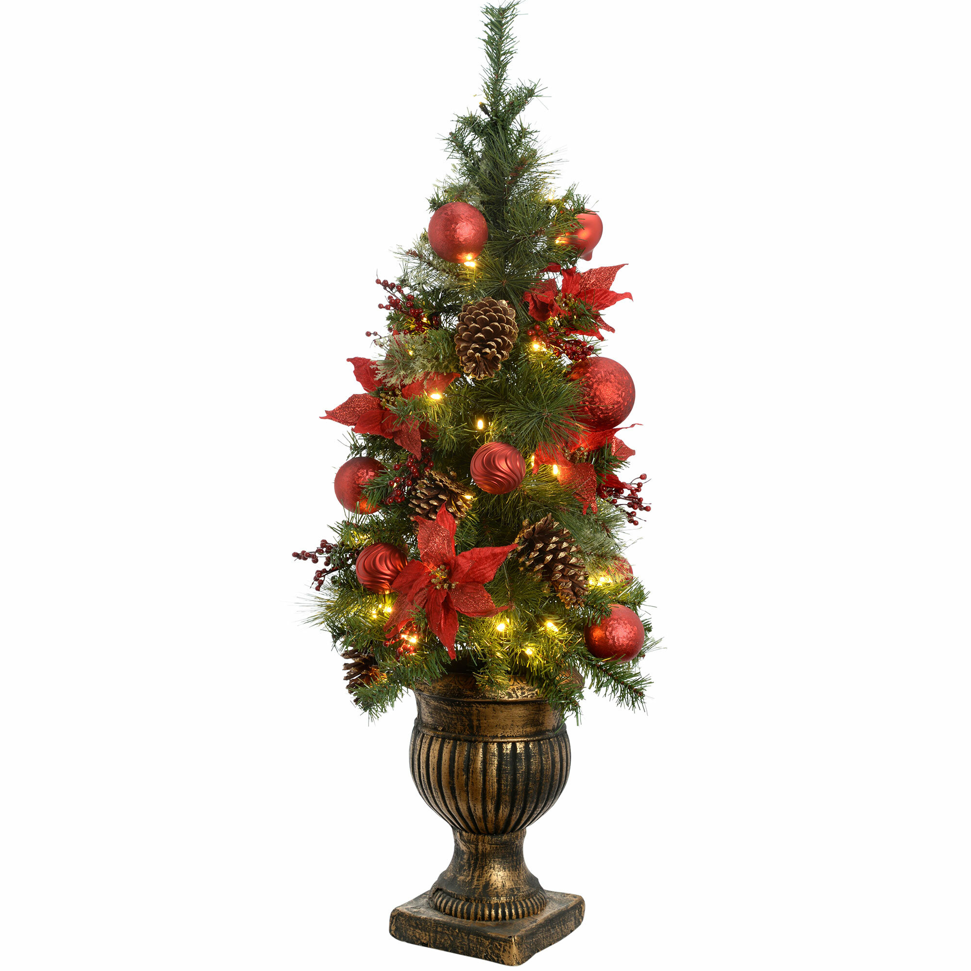 4ft Christmas Tree.Potted 4ft Green Pine Artificial Christmas Tree With 50 Clear White Lights With Pot