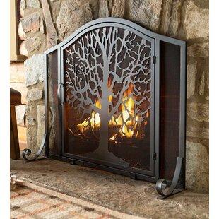Tree Of Life Single Panel Iron Fireplace Screen