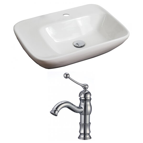 Ceramic 24 Wall Mount Bathroom Sink with Faucet by American Imaginations