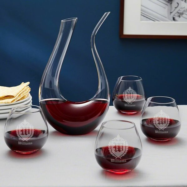 Kania Monogram Personalized Horn Wine 20 oz. Beverage Serving Set by Winston Porter