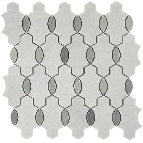 Santorini Geo Random Sized Marble Mosaic Tile in Gray/White by Byzantin Mosaic