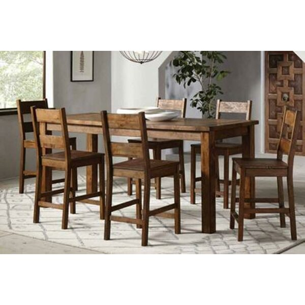 Aster 7 Piece Counter Height Solid Wood Dining Set By Mistana