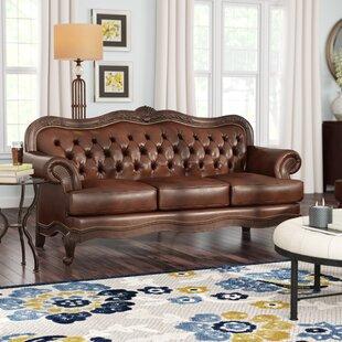 Leather Sofa With Wood Trim Wayfair