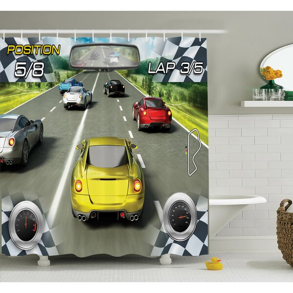 Motor Sports Racing Shower Curtain Set by Ambesonne