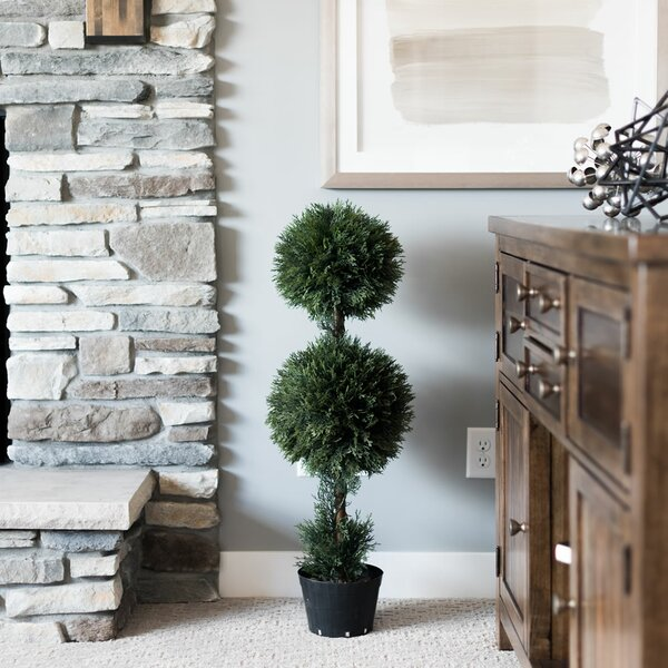 Inherently Flame Retardant Balls Floor Cedar Topiary in Planters Pot by Fleur De Lis Living