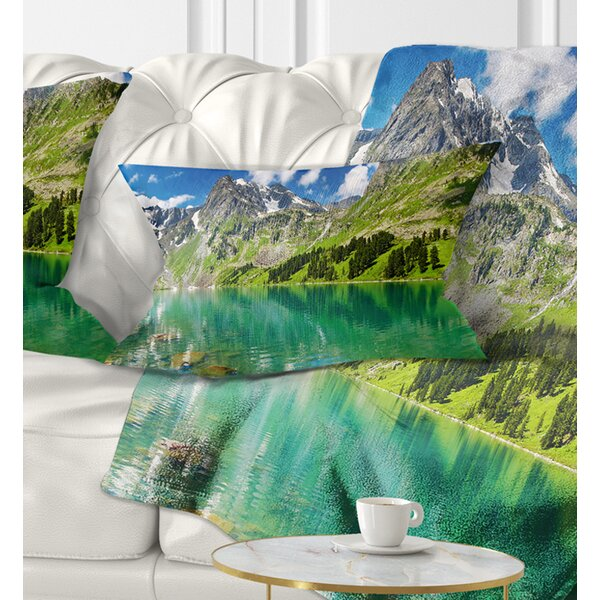 Photography Bright Day Mountain Lake Lumbar Pillow by East Urban Home