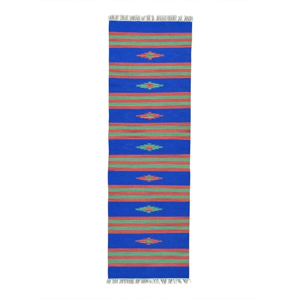 One-of-a-Kind Toupin Flat Weave Killim Hand-Knotted Cotton Blue Area Rug by Millwood Pines