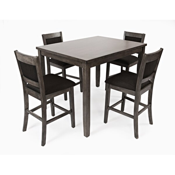 Lago 5 Piece Counter Height Solid Wood Dining Set by Gracie Oaks Gracie Oaks