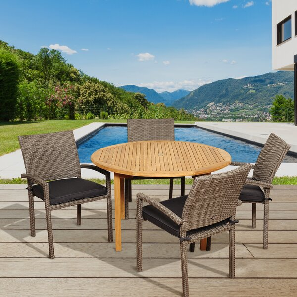 Arango 5 Piece Teak Dining Set with Cushions by Beachcrest Home