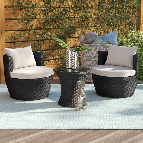 Collingswood 3 Piece Seating Group with Cushions Mercury Row W000332667