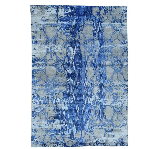 Abstract Hand-Knotted Denim Blue/Gray Area Rug by Ivy Bronx