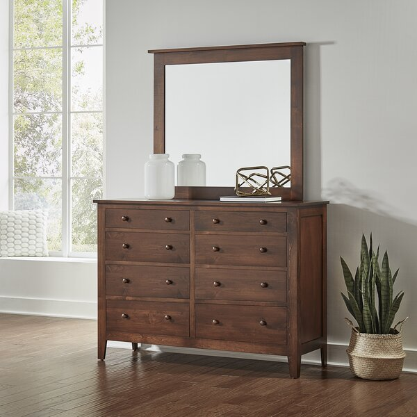 Mccalla 8 Drawer Double Dresser with Mirror by Millwood Pines