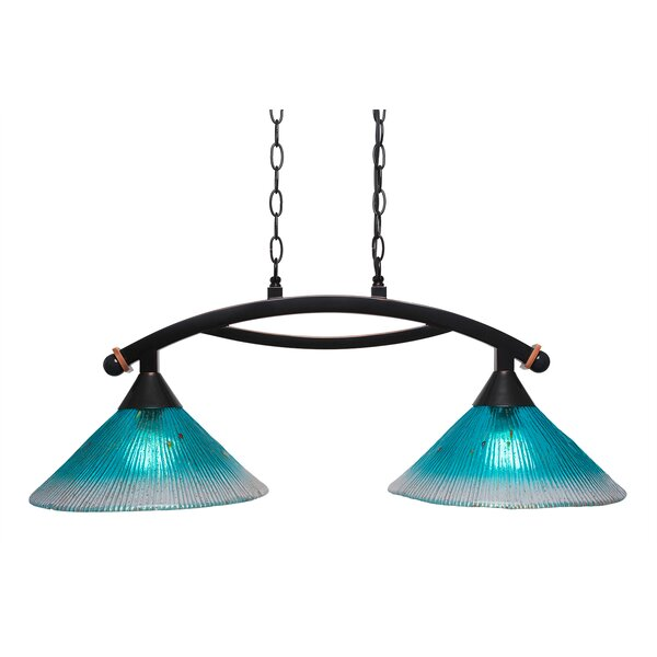 Blankenship 2-Light Glass Shade Kitchen Island Pendant by Fleur De Lis Living