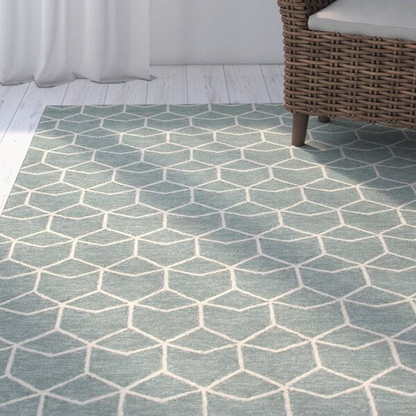 Wells Blue/Ivory Geometric Indoor/Outdoor Area Rug by George Oliver