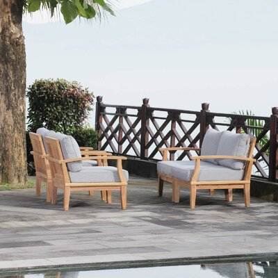 Foundstone Outdoor Patio Teak Sofa Seating Group Cushions Cushion Color Seating Groups