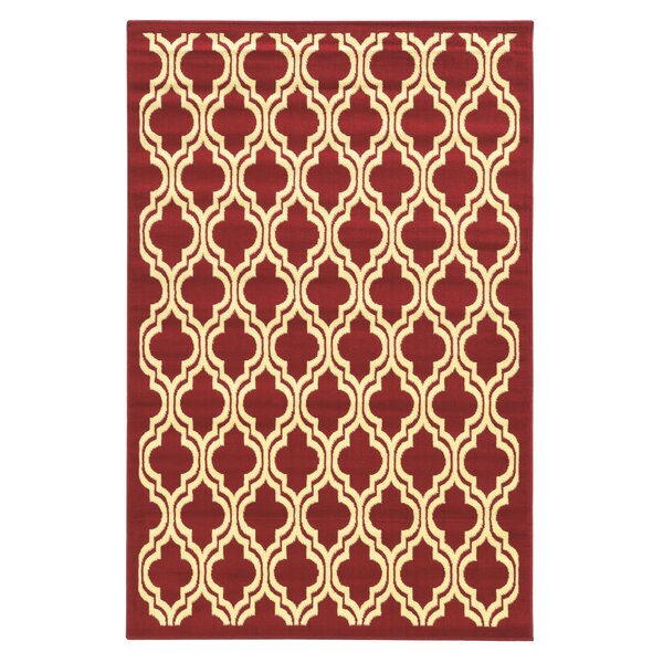 Allmon Quatrefoil Red Area Rug by Winston Porter