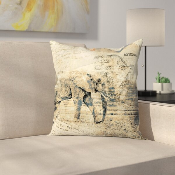 Elephant Throw Pillow by East Urban Home