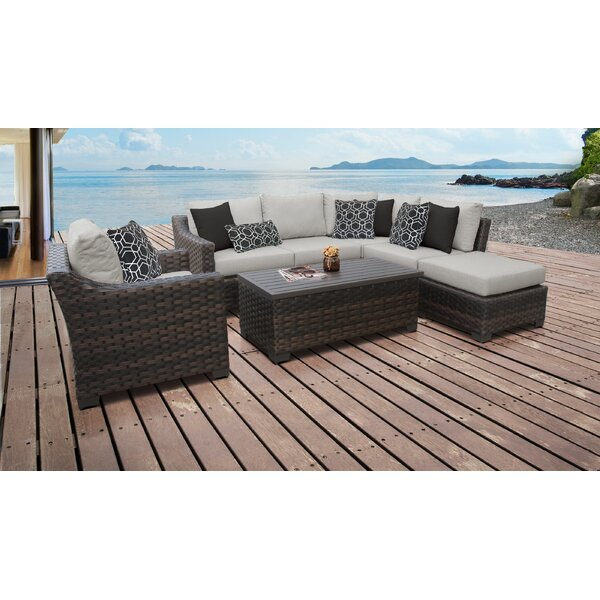kathy ireland Homes & Gardens River Brook 7 Piece Outdoor Wicker Patio Furniture Set 07f by kathy ireland Homes & Gardens by TK Classics