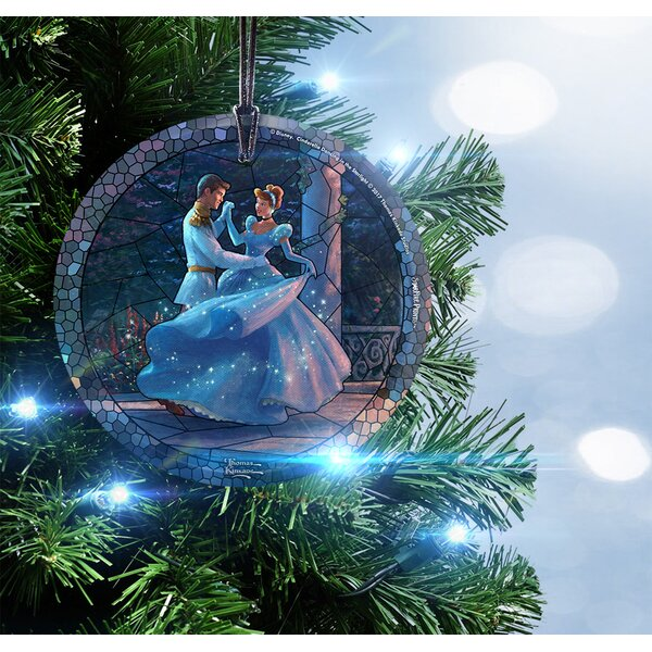 Thomas Kinkade Disney Dancing in the Starlight Cinderella StarFire Prints Stained Glass Shaped Ornament by Trend Setters