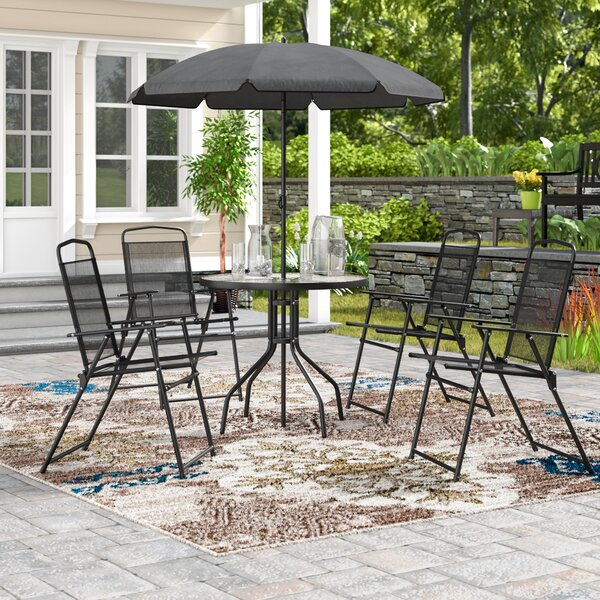Humes 5 Piece Bistro Set with Umbrella by Winston Porter