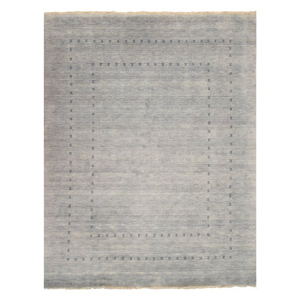 Drennon Hand-Knotted Gray Area Rug by Bloomsbury Market