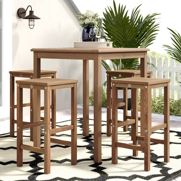 Elsmere Patio 5 Piece Teak Dining Set by Beachcrest Home