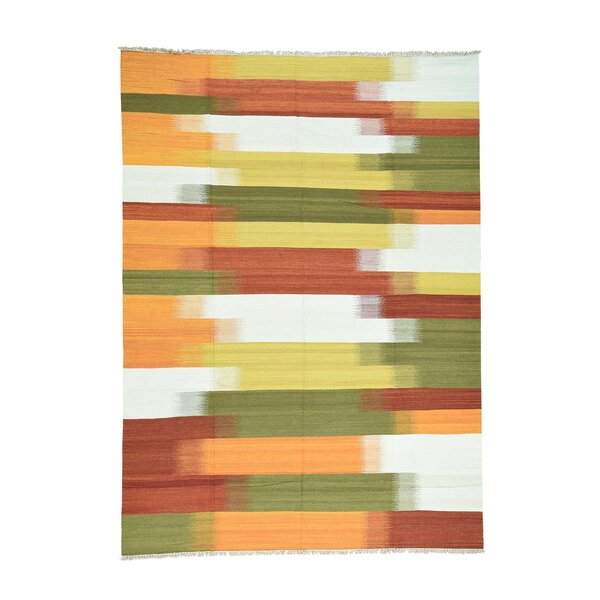 Durie Kilim Flat Weave Hand-Knotted Yellow/Olive Green/Orange Area Rug by Bloomsbury Market