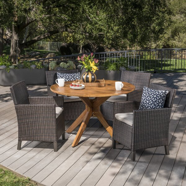 Pilcher Outdoor Wicker Rectangular 5 Piece Dining Set with Cushions by Gracie Oaks