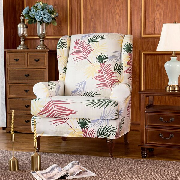 Leaves Printed Stretch T-Cushion Wingback Slipcover By Ebern Designs