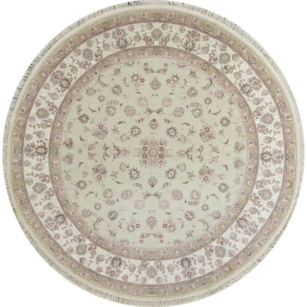 Round Oriental Hand-Knotted Light Green/Ivory Area Rug