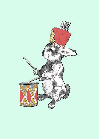 Bunny Drummer Canvas Art by Oopsy Daisy