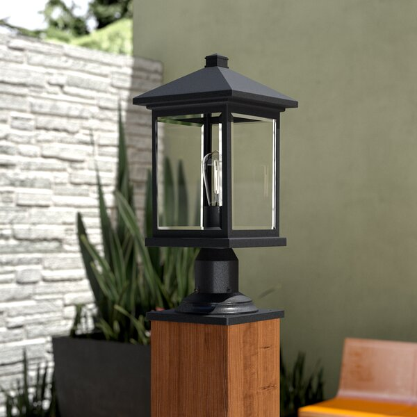 Leroy Outdoor 1-Light Beveled Glass Pier Mount Light by 17 Stories