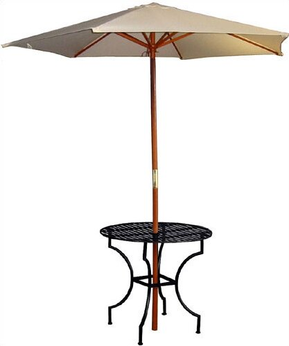 Easy to Assemble Iron Round Dining Table with 2.75 Umbrella Holder by Pangaea Home and Garden