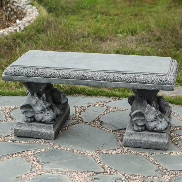 Rafaela Dragon Cement Garden Bench by Astoria Grand