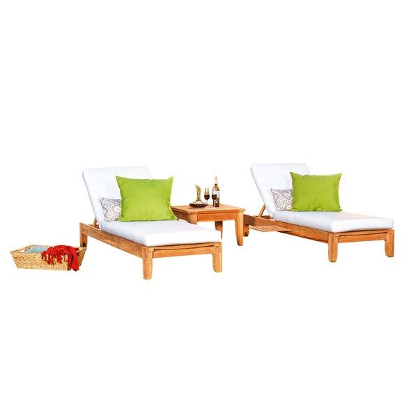 Maiorano Grade-A Atnas Multi Position Sun Reclining Teak Chaise Lounge by Highland Dunes Highland Dunes