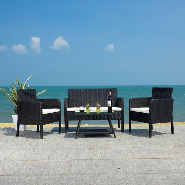 Aboka 4 Piece Rattan Sofa Seating Group with Cushions by Latitude Run