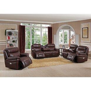 Kubik Leather Reclining Living Room Set by Red Barrel Studio®