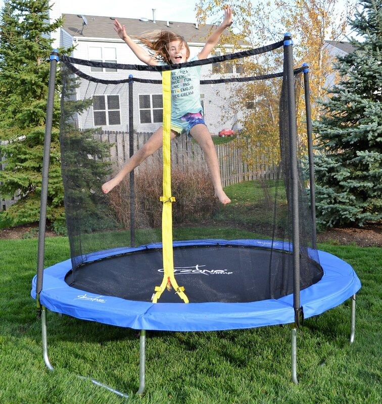 Backyard 8u0027 Round Trampoline With Safety Enclosure