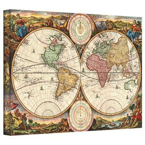 '1730 Map of the World' by Daniel Stoopendaal Framed Graphic Art on Wrapped Canvas by World Menagerie