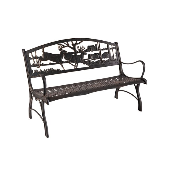 Hendry Running Whitetails Cast Iron Park Bench by Loon Peak