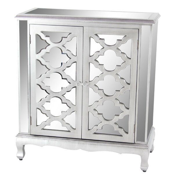 Marley Modern with Mirrored Panels Lattice-Designed 2 Door Accent Cabinet by Rosdorf Park