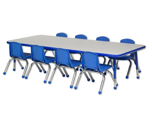 9 Piece Rectangular Activity Table & 14 Chair Set by ECR4kids