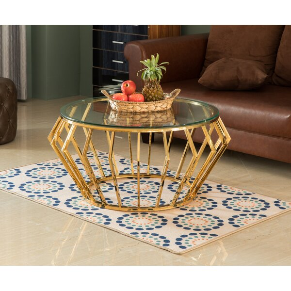 Round Shaped Glass Gold Stainless Steel Metal Modern Coffee Table by Everly Quinn Everly Quinn