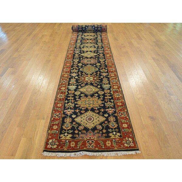 One-of-a-Kind Blairwood Antiqued Karajeh Hand-Knotted Black Wool Area Rug by Isabelline