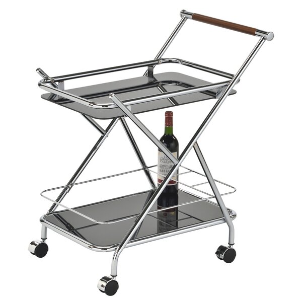 Cecile 2 Tier Glass Bar Cart by Wrought Studio