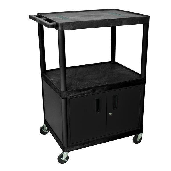 Open Shelf Endura Video AV Cart with Locking Cabinet by Luxor