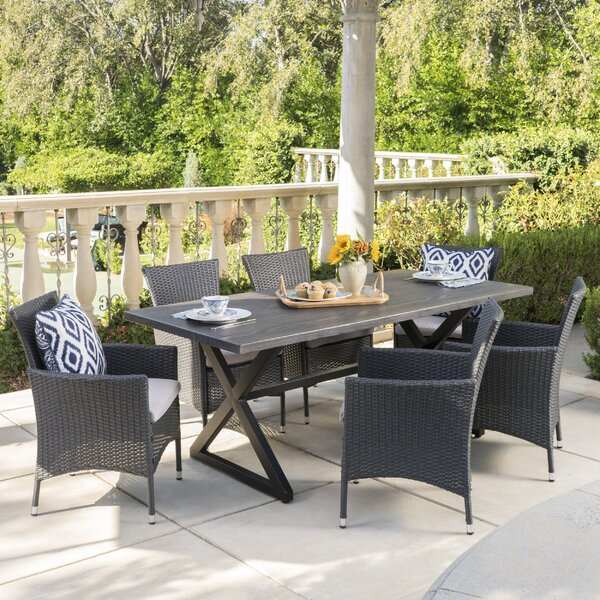 Nevis 7 Piece Dining Set with Cushions by Breakwater Bay