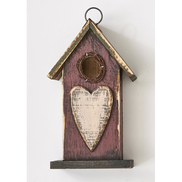 Wooden Heart 10 in x 5.5 in x 4.5 in Birdhouse by Worth Imports