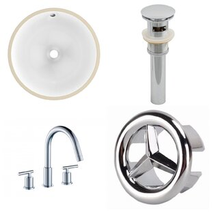 Compare CUPC Ceramic Circular Undermount Bathroom Sink with Faucet and Overflow By American Imaginations