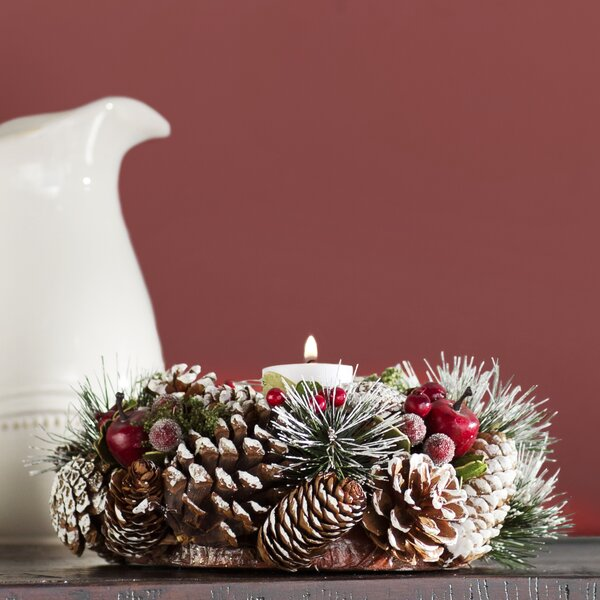 Pinecone Candle Wreath Centerpiece by Three Posts